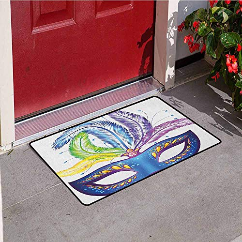 - Gloria Johnson Mardi Gras Inlet Outdoor Door mat Blue Ornate Venetian Festival Mask with Feathers Masquerade Parade Preparations Catch dust Snow and mud W23.6 x L35.4 Inch Multicolor