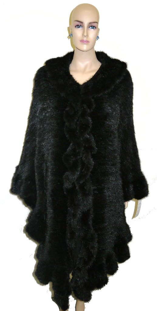 Women's Mink Knit Layered Shawl Unique Style - Black by Hima