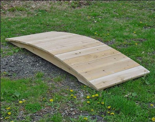 6' White Cedar Unstained Arched Plank Bridge