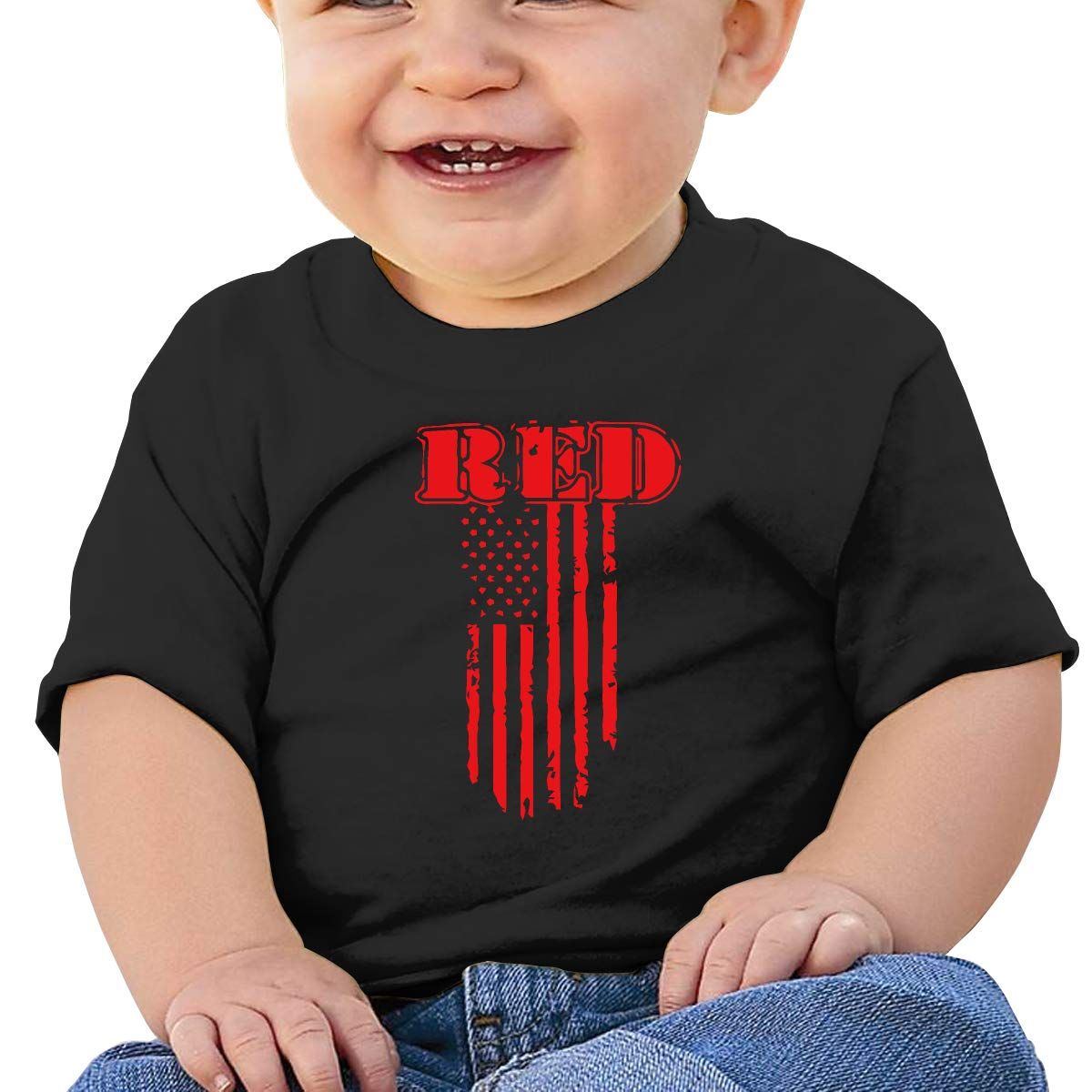 Remember Everyone Deployed Red Friday Baby Boys Girls Short Sleeve Crewneck T-Shirt 6-18 Month Tops