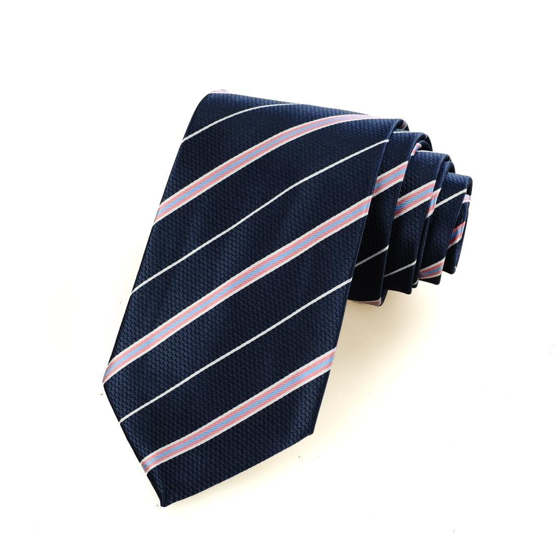 FYios/®Rosa Wei/ß gestreift Marine Blau Herren Krawatte Krawatte Gesch/äftsreise Geschenk #0009