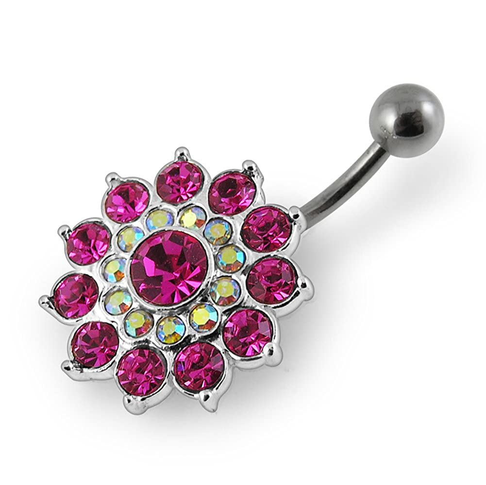 Fashion Multi Lyer Flower 925 Sterling Silver with Stainless Steel Belly Button Rings