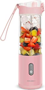 Portable Blender Smoothies Blender on the go Single Serve for Travel - for Mixing Fruit Juice, Milk-Shake, Small Ice with 13 oz Travel Blender Cup, Pink Color / 24000Mah