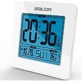 BALDR Premium Alarm Clock with Time Calendar Function DST Temperature Display Blue Backlight
