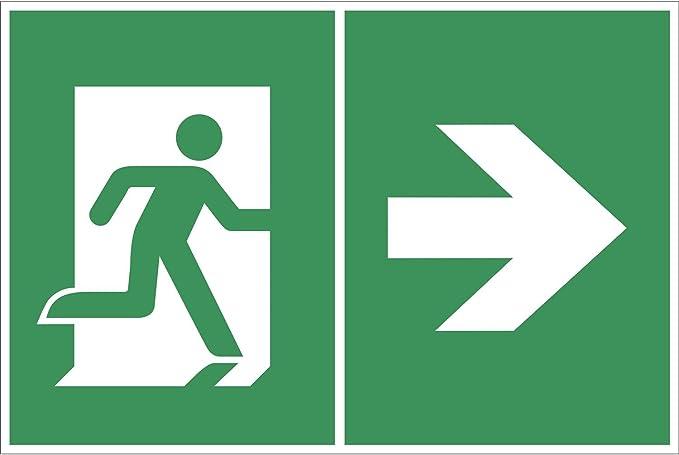 BENDER Salvavidas Cartel S/ímbolo Flecha//Salida de Emergencia Izquierda