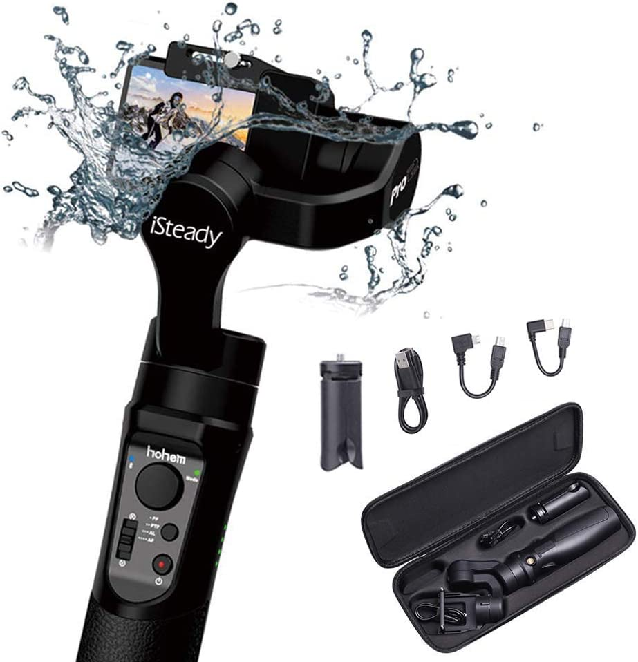 Hohem iSteady Pro 2 3-Axis Handheld Gimbal, Water Splash Proof & Beveled Design Upgraded 2019, New App Trigger Button 12hrs Run Time for DJI Osmo Action, Gopro Hero 7 6 5 4 3, Sony RXO, SJCAM, YI Cam