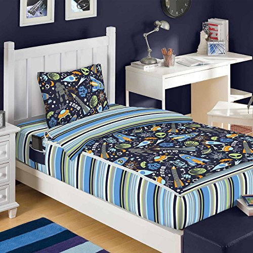 Zipit Bedding 3 Piece Outer Space Reversible Glow in the Dark and Interchangeable Bed in a Bag Set (Twin)