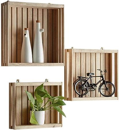 Estantes de madera maciza Cuadrados Simple Caja de almacenamiento decorativa Estantes flotantes ecológicos montados en la pared Sala de estar multifuncional Decoración de comedor Soporte de exhibición: Amazon.es: Hogar
