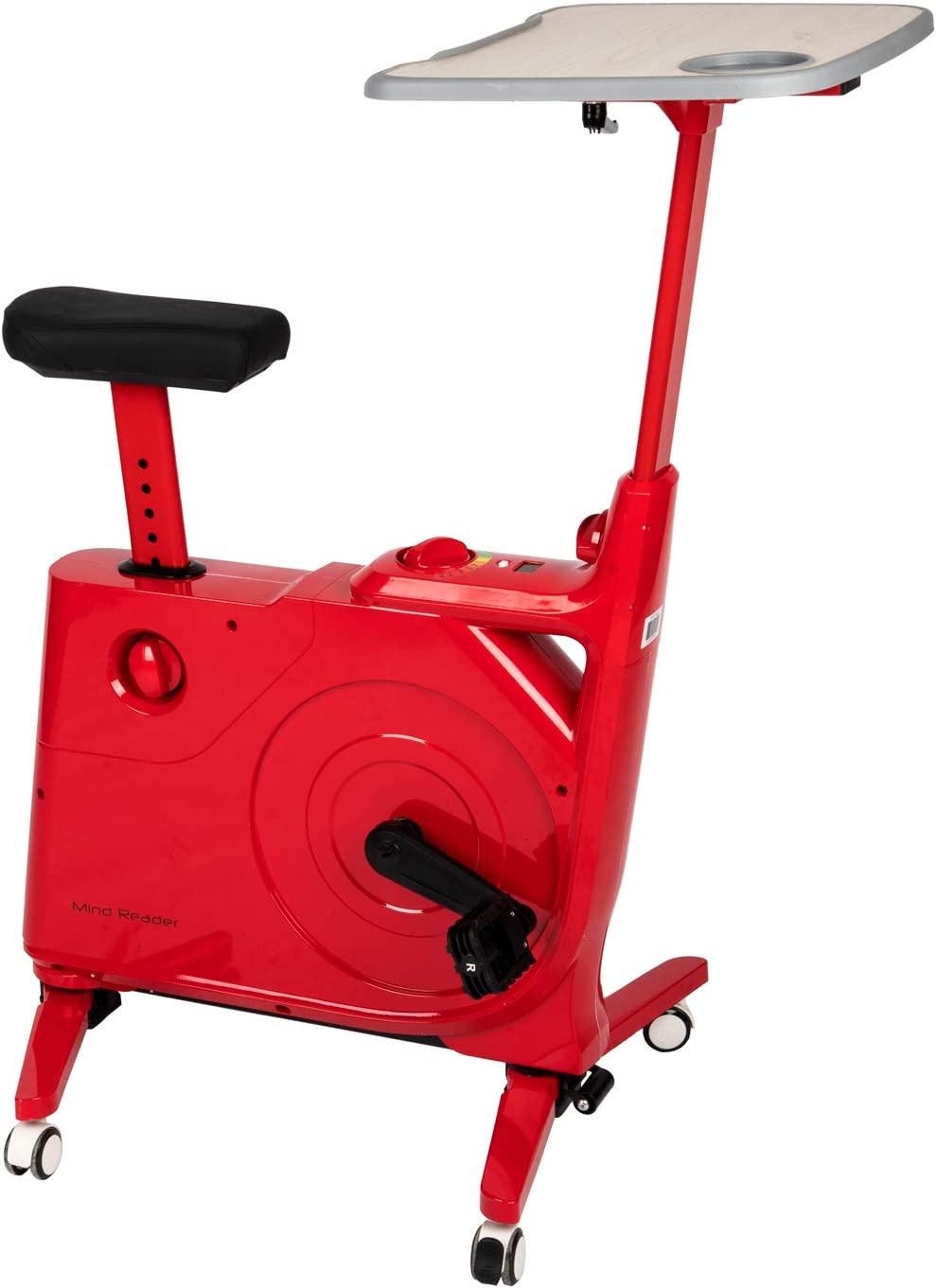 Mind Reader Bike with Desk for Exercise and Study or Work, Adjustable Height and Resistance, Home Fitness Station, Red