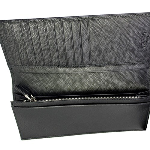 SAFFIANO PRADA 2MV836 BLACK NERO LONG SAFFIANO BLACK MEN'S LEATHER PRADA LEATHER WALLET MEN'S 1CUnxwqgSB