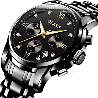 f7e9ee72600 Amazon.com  All Black Watches Stainless Steel Watch Men