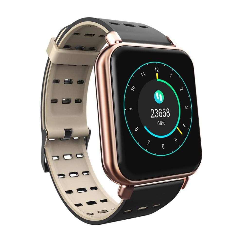 Sunward Waterproof Bluetooth Smart Watch Heart Rate Monitor Mate for iOS Android Y6 Pro Smartwatch Phone Fitness Tracker for iOS/Android Men Women Kids (Gold)