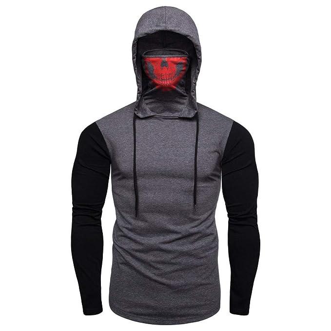f017810a42a93 YanHoo Tops de Hombre Máscara de Costura para Hombre con Capucha suéter de  Manga Larga Top Máscara para Hombre Cráneo Empalme Jersey Manga Larga  Sudadera ...