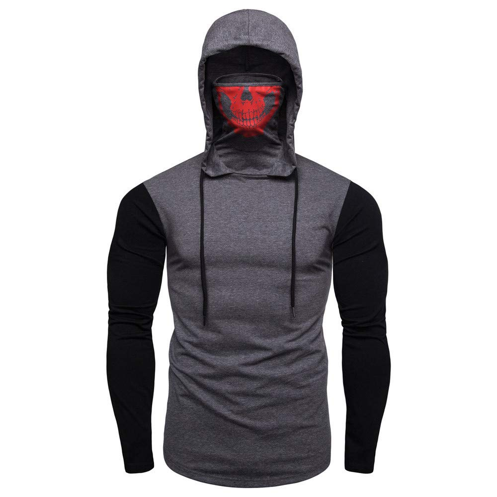Mens Hoodie,Funny Mask Skull Hooded Pullover Solid Sweatshirt Blouse Tops Zulmaliu (Gray 4, 2XL)