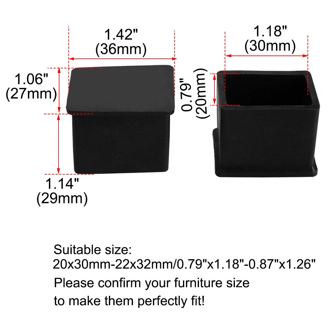 uxcell PVC Table Leg Cap End Tip Feet Cover Furniture Glide Floor Protector 100pcs 0.59 x 1.18 Inner Size Reduce Noise Prevent Scratch 15x30mm
