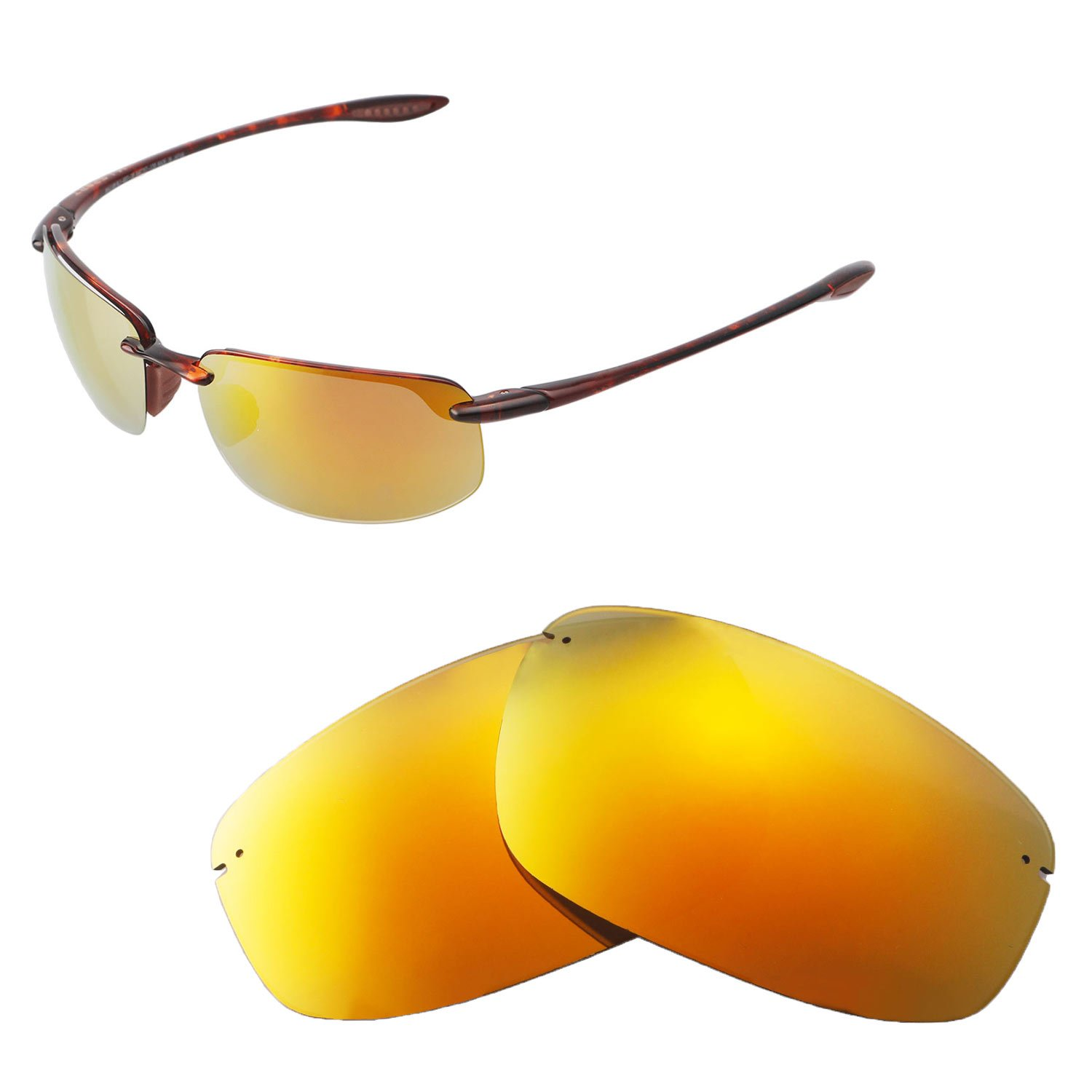 Walleva Replacement Lenses for Maui Jim Ho'okipa Sunglasses - Multiple Options Available (24K Gold - Polarized)