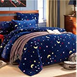 Norson Home Textiles, Thick Warm Flannel Bedding Sets, the Moon and the Stars Printed Bedding Sheets Quilt Cover and Pillowcases (2pcs) 4pc Set / 5pc Set , Beautiful and Comfortable (4pcs without comforter)