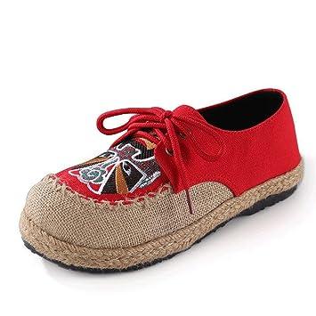 Mocasines Etnicos Rojos Zapatos De Lona con Cordones para Mujer Casuales Cabeza Redonda Elegante AlgodóN Y Lino Bordado Planos Primavera Y Verano Soltero ...