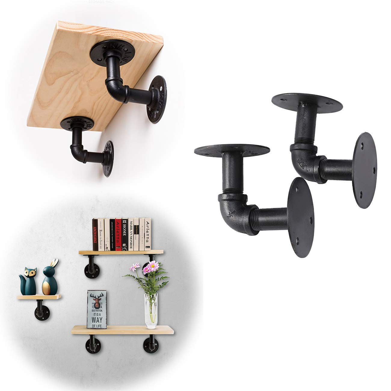 Pipe Shelf Bracket, Dyna-living 2PCS 10x10cm Shelves Support Hanger Wall Mounted Retro Industrial Plumbing Floating Restoration Hardware for Book Shop Shoes Bags Photo Frames Storage