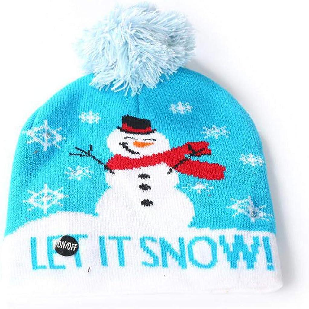 MONISE Unisex Christmas LED Flashing Knitted Beanie Hat Christmas Winter Beanie