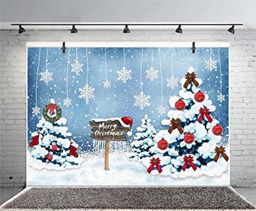(Leyiyi 5x3ft Photography Backdrop Merry Christmas Background Cartoon Snowing Forest Happy New Year Wooden Roadsign Pine Socks Wreath Santa Claus Frost Garden Photo Portrait Vinyl Studio Video Prop)