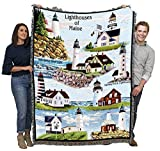 Pure Country Weavers Lighthouses of Maine Woven Blanket Large Soft Comforting Throw Bass Harbor West Quoddy Cape Elizabeth Halfway Rock and Portland 100% Cotton Made in The USA 72x54