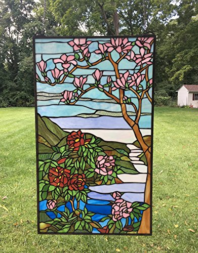 yle stained glass Jeweled window panel Cherry Blossom ()
