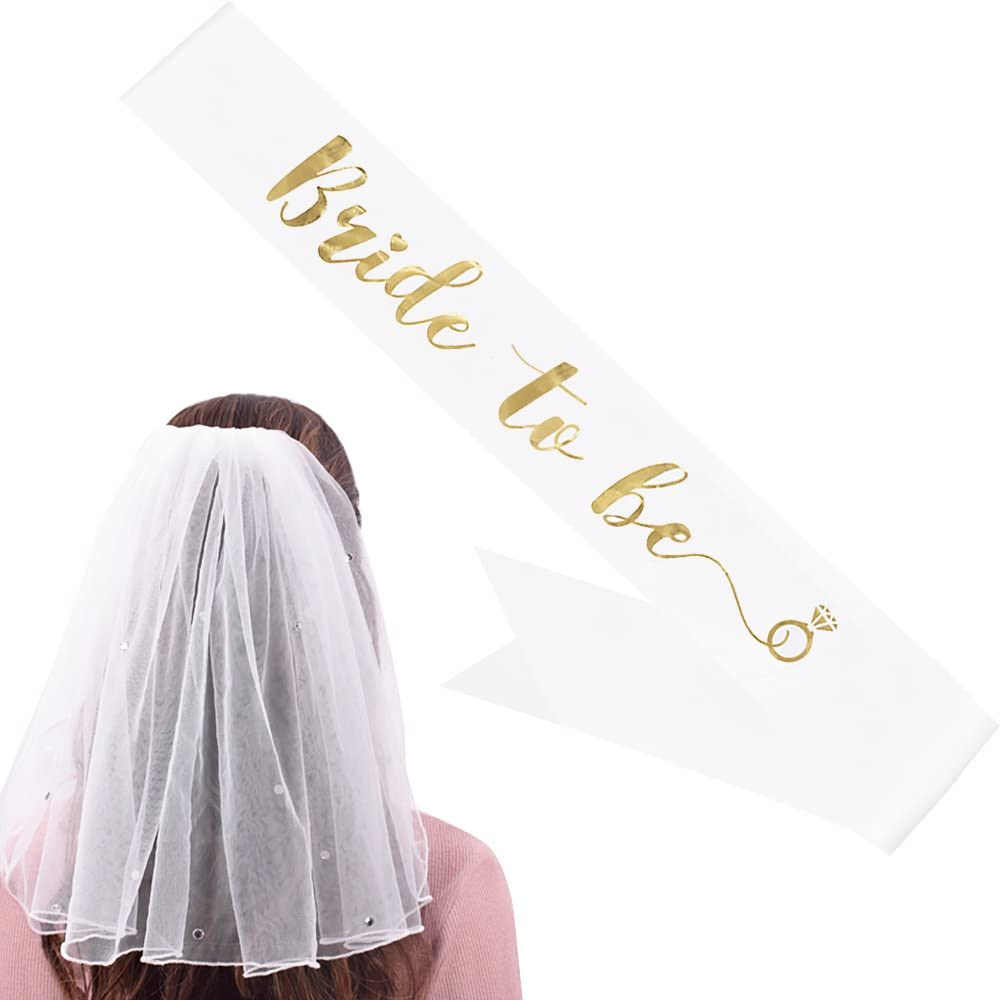YULIPS Bride to Be Sash & Shoulder Length Veil - Bridal Accessories for Bachelorette Party Bridal Shower Hen Party