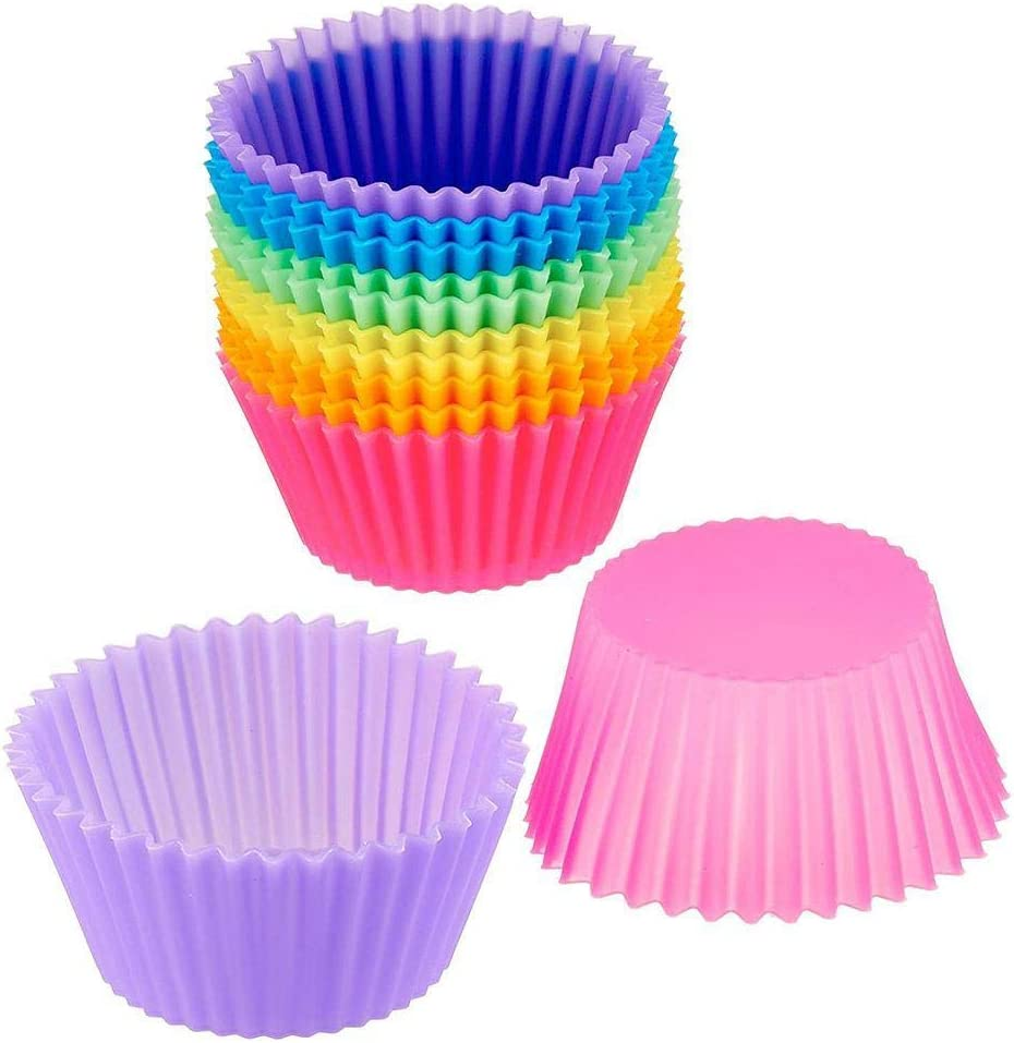 Silicone Cupcake Baking Cups Molds 12 Pack Reusable Cupcake Holder Muffin Liners Air Fryer Cups For Party No Smell, Safe Food Grade (Size: Base-1.8