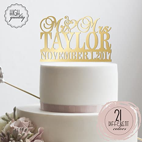 Amazon Clef Sign Personalized Wedding Cake Topper Mr Mrs