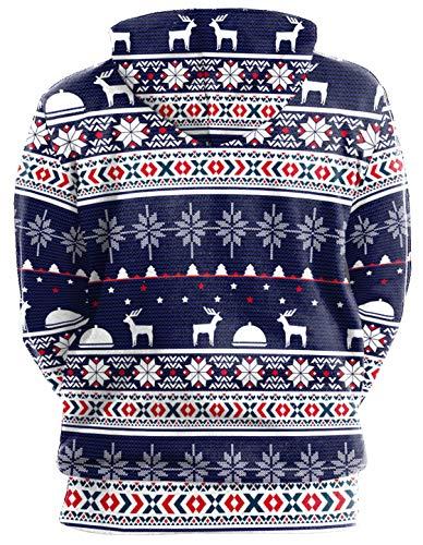 Halloween Ocean Manches Plus Capuche Amusement Multicolore Poche Kangourou Imprimé Longues over Classique À Noël Sweats Homme Avec Pull Sweat rYxBr