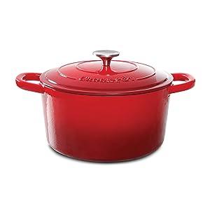 Crock Pot 69141.02 Artisan 5 Quart Enameled Cast Iron Round Dutch Oven, Red