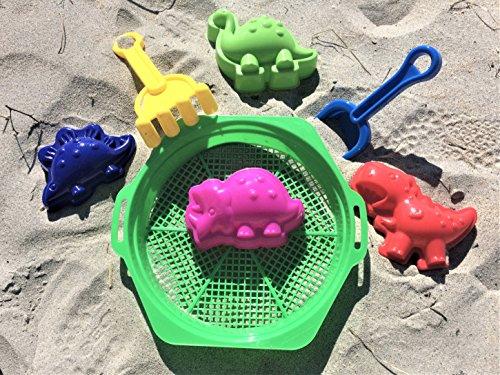 (7 Pce Dinosaur Sand Molds and Tools 4 Beach Sandbox Kids)