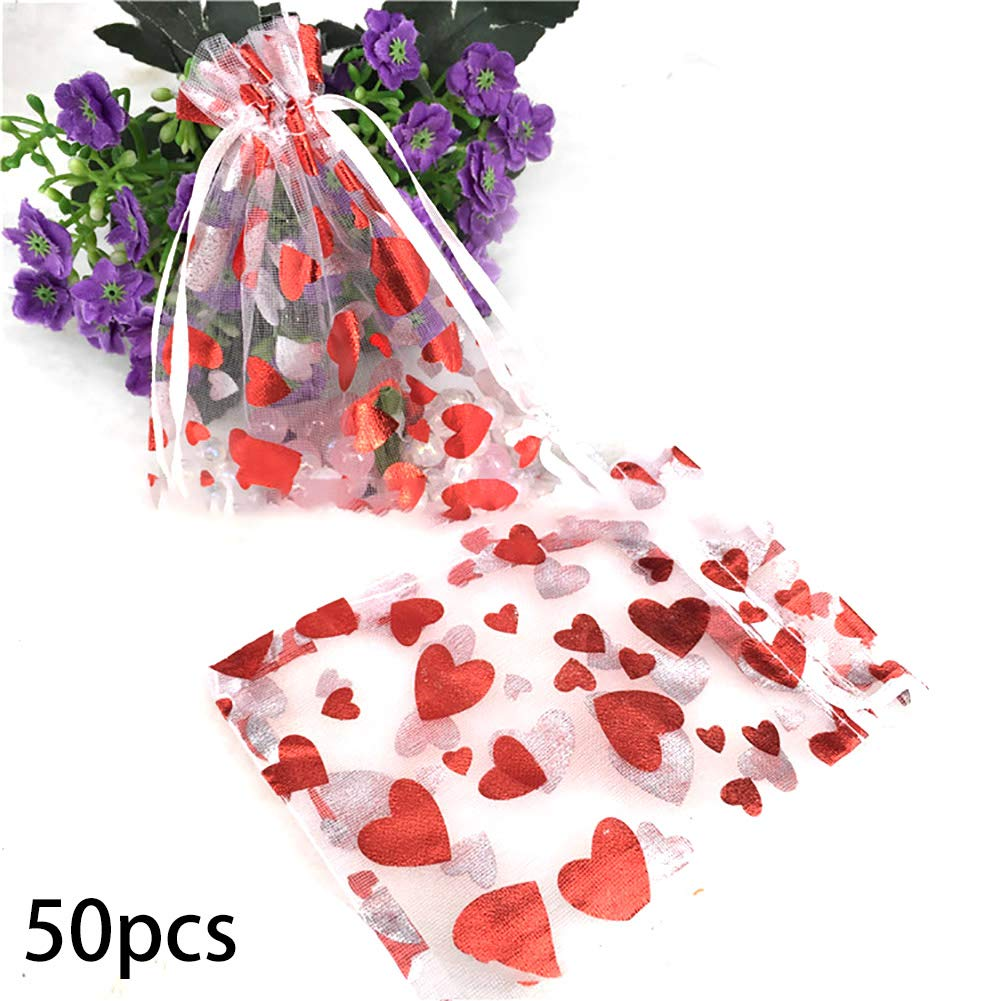 50 PCS Heart Printed Red Organza Bags Jewelry Pouch Bags Organza Velvet Drawstring Pouches Wedding Favors Candy Gift Bags Ouken