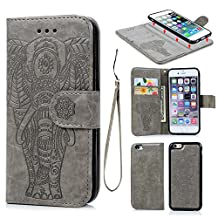 iPhone 6 6S Wallet Case, Premium PU Leather Oil Wax Embossed Elephant Case 2 in 1 Flip Detachable Flexible TPU Skin Magnetic Folio Shockproof Cover with Card Slots Wrist Strip Design for iPhone 6 6S (Gray)