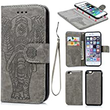 iPhone 6 6S Wallet Case PU Leather Oil Wax Embossed Elephant Flip TPU Case Cover Detachable Wallet Credit Card Slots Magnetic Flap Closure Cover for iPhone6 6S Gray