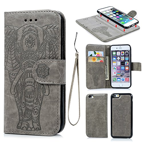 iPhone 6 6S Wallet Case PU Leather Oil Wax Embossed Elephant Flip TPU Case Cover Detachable Wallet Credit Card Slots Magnetic Flap Closure Cover for iPhone6 6S - Elephant Embossed