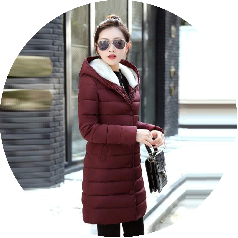 Deep red Women Jacket Winter Coats Elegant Down Jacket Thick Winter Coat Women Slim Parkas Warm Outwear