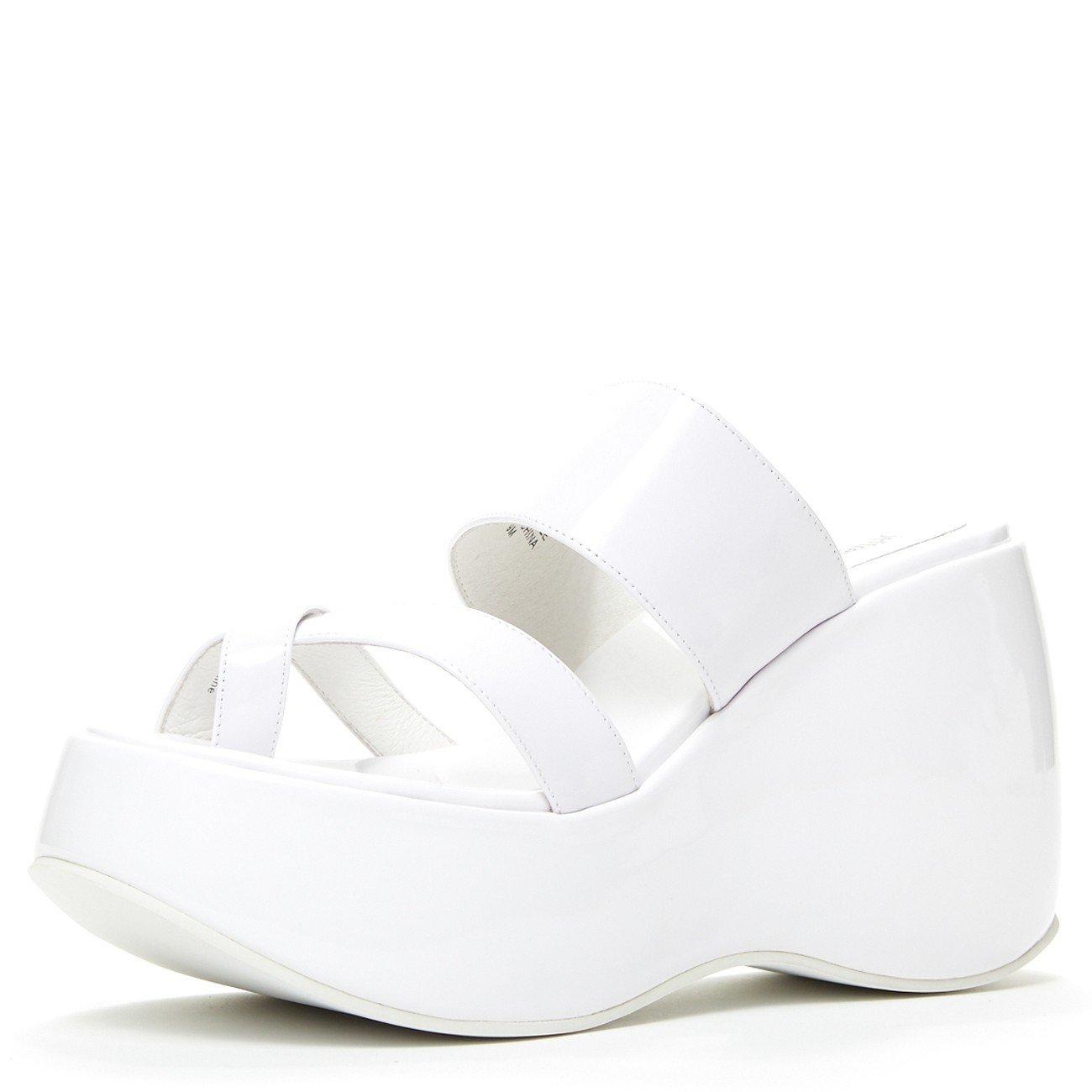 Jeffrey Campbell Vibe Leather Platform Toe Thong Sandal, White B07DR44937 8 B(M) US