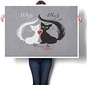 "Mannwarehouse Cat Living Room Decorative Painting, Pair of Cats in Love Having Eaten Fish Red Heart Romantic Black and White Kitties Extra Large Wall Art for Living 32"" Wx47 L Black White Grey"