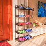European style iron shoe rack folding multilayer shoe rack shelf floor hall shoe rack simple slippers shelf-C