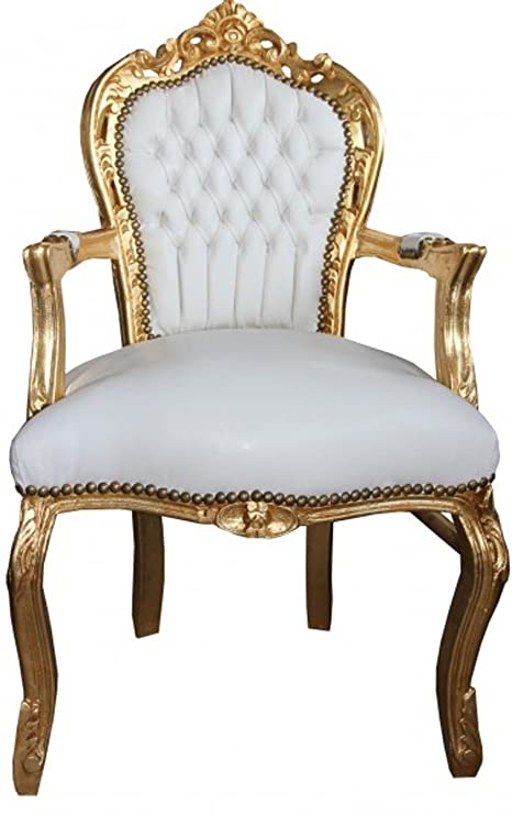 Casa Padrino casa padrino baroque dinner chair with armrests white gold leather