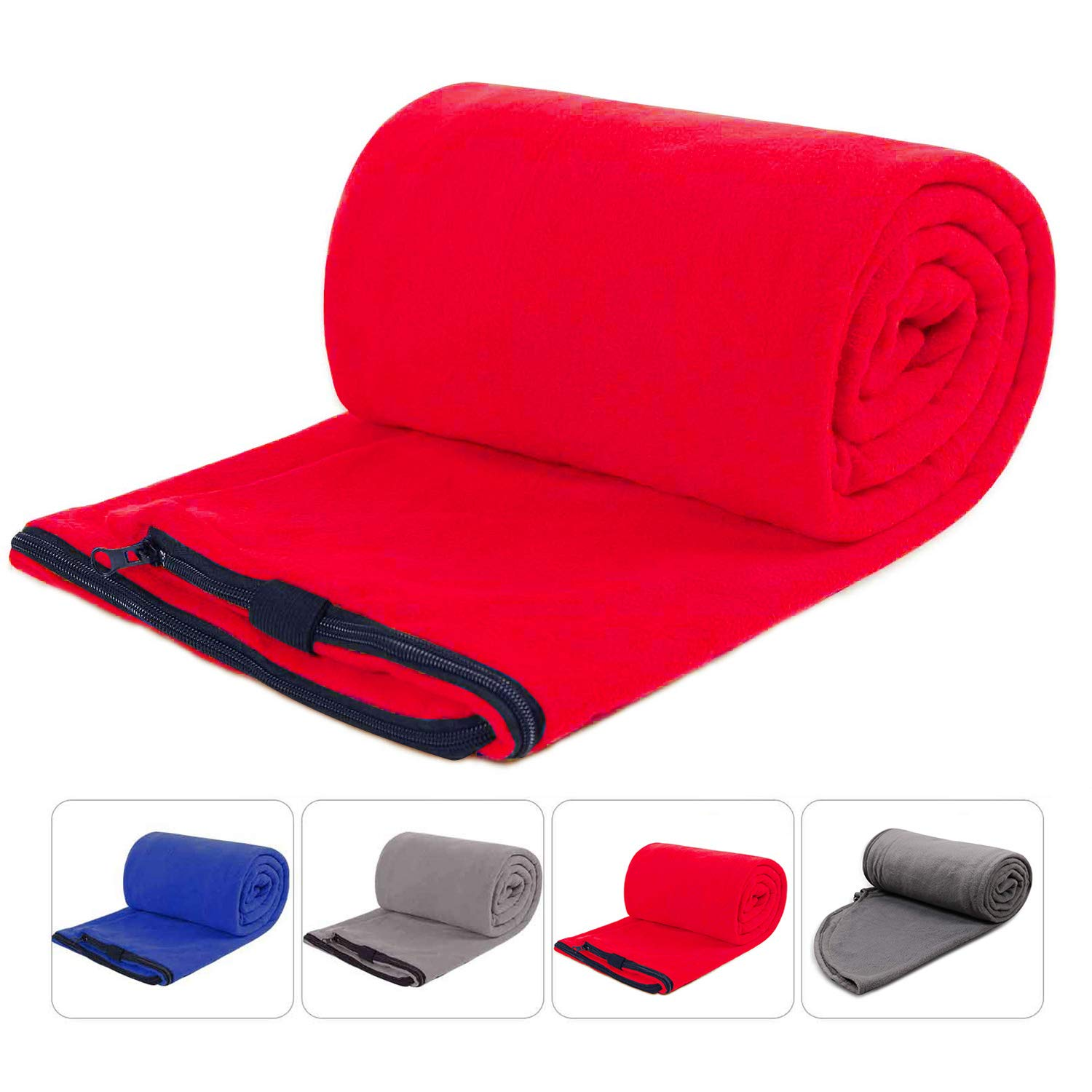 REDCAMP Fleece Sleeping Bag Liner for Adult Warm Weather, Full Sized Zipper Backpacking Blanket for Outdoor Camping or Indoor Used with Sack,Red by REDCAMP