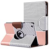 ULAK iPad Mini Case,iPad Mini 2 Case,iPad Mini 3 Case, 360 Degree Rotating Smart Synthetic Leather Stand Case Cover for Apple iPad Mini 1/2/3 with Auto Sleep/Wake Function (Rose Gold/Black Stripe)