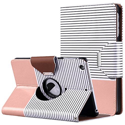 (ULAK iPad Mini Case,iPad Mini 2 Case,iPad Mini 3 Case, 360 Degree Rotating Smart Synthetic Leather Stand Case Cover for Apple iPad Mini 1/2/3 with Auto Sleep/Wake Function (Rose Gold/Black Stripe))