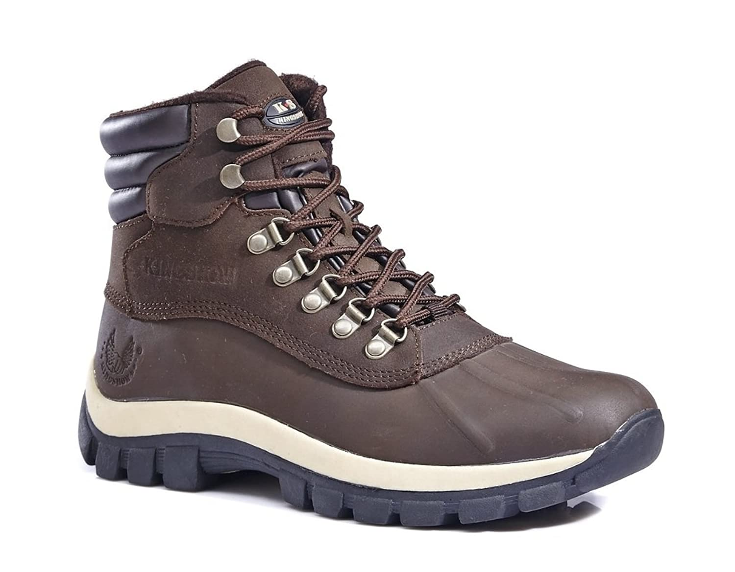 KINGSHOW Men's M0705 Water Proof Brown Leather Rubber Sole Winter Snow Boots 8.5 M US