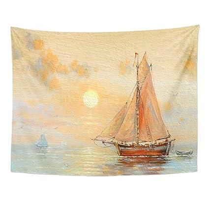 f4a5f6402 SPXUBZ Wall Tapestry Fisherman Boat Paintings Oil Fishing Ocean Sea Sky  Canvas Beach Landscape Coast Wall