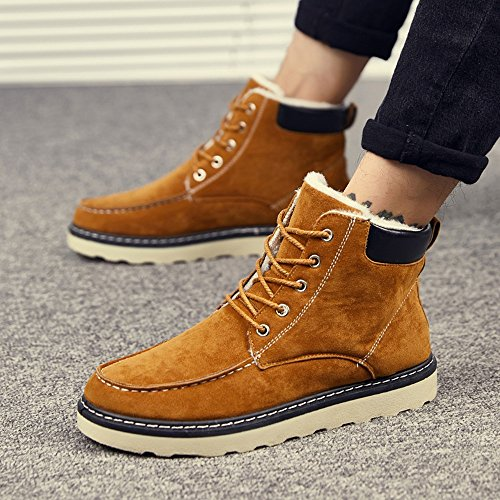 Men's Shoes Feifei High-Quality Materials Winter Non-Slip Keep Warm Casual Fashion Snow Boots 3 Colors (Color : Brown, Size : EU39/UK6/CN39)