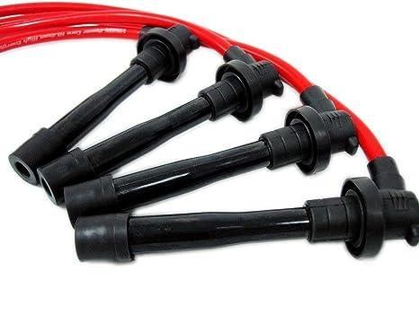 VMS Racing 10,2 mm de alto rendimiento motor Premium para bujías Cables Alambre Set en rojo: Amazon.es: Coche y moto