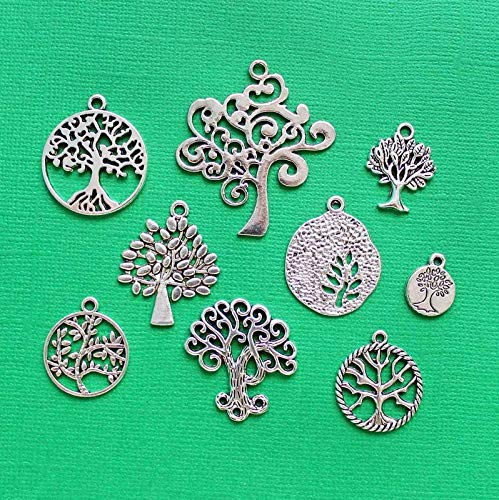 Tree of Life Charm Collection Antique Silver Tone 9 Charms Vintage Crafting Pendant Jewelry Making Supplies - DIY for Necklace Bracelet Accessories by ()